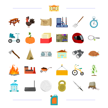 rulos: sports, travel, education and other  icon in cartoon style.agriculture, cooking, refining icons in set collection. Vectores