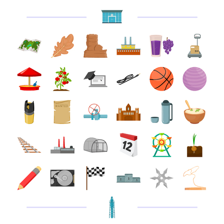 education, travel, transportation and other  icon in cartoon style.oil refining, sport, security icons in set collection.