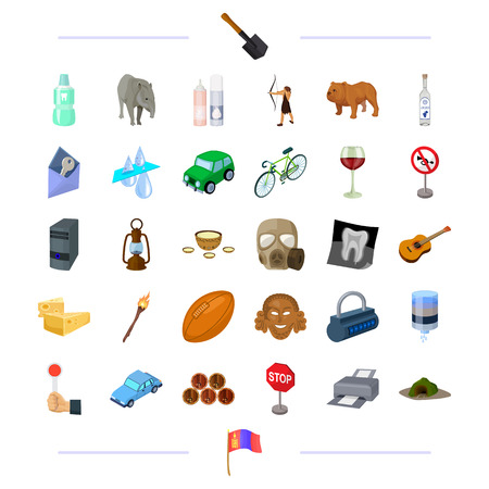 travel, sport, history and other  icon in cartoon style.wine, animal, transport icons in set collection.
