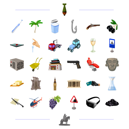 weapons, travel, technology and other  icon in cartoon style. cooking, transport, medicine icons in set collection.