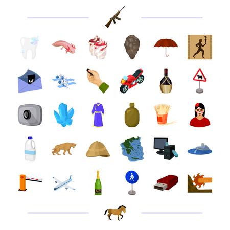 helados con palito: tecnología, medicina, viajes y otros iconos en estilo de dibujos animados. Transportes, historia, iconos de alcohol en la colección de conjunto. Vectores