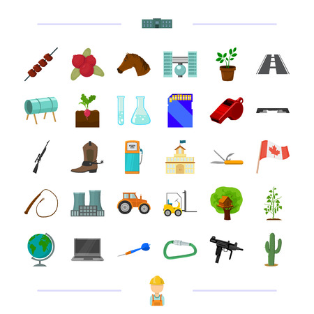 training, transportation, weapons and other icon in cartoon style.game, Canada, vegetable growing,fitness icons in set collection. Vetores