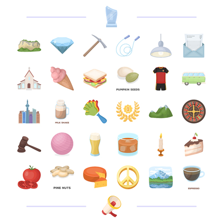 religion, cooking, sport and other  icon in cartoon style. ritual, mourning icons in set collection.