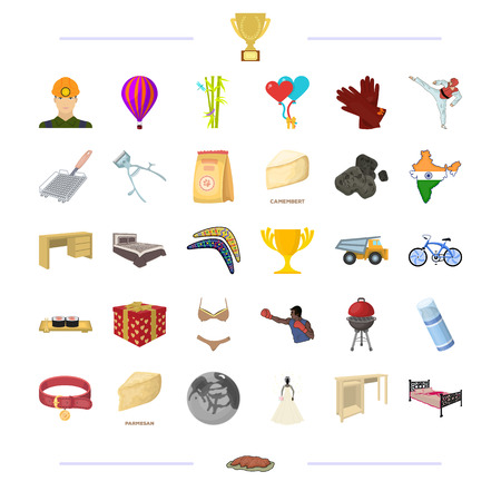, tourism, wedding, sportsand other  icon in cartoon style.business, textiles, furniture icons in set collection. Stock Illustratie