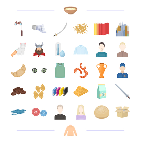 animal, weapon, typography, appearance and other  icon in cartoon style.food, weather, theater, garbage icons in set collection.