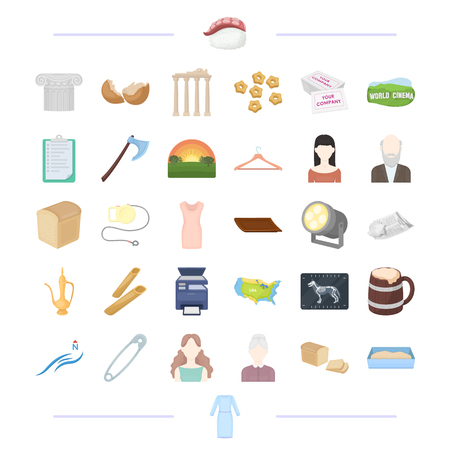 lading: clothes, theater, food and other  icon in cartoon style.age, appearance, weather, atelier icons in set collection.
