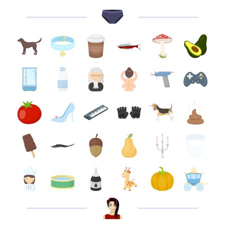 woman, breed, animal and other  icon in cartoon style. vegetable, wedding, drink icons in set collection.
