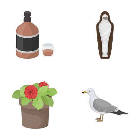 alcohol, history and other  icon in cartoon style.plants, bird icons in set collection. Illustration