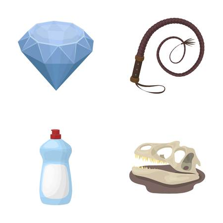 cleaning, animal and other  icon in cartoon style. history, mine icons in set collection. Иллюстрация