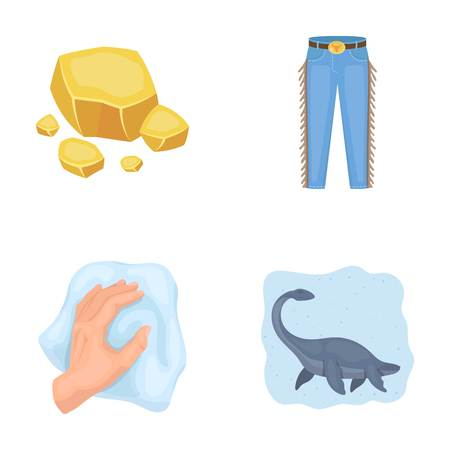 mine, cleaning and other  icon in cartoon style.cowboy, history icons in set collection.