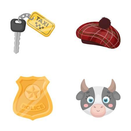 gorra policía: policía, viaje y otro icono en estilo de dibujos animados. Transportes, iconos de animales en la colección de conjunto.