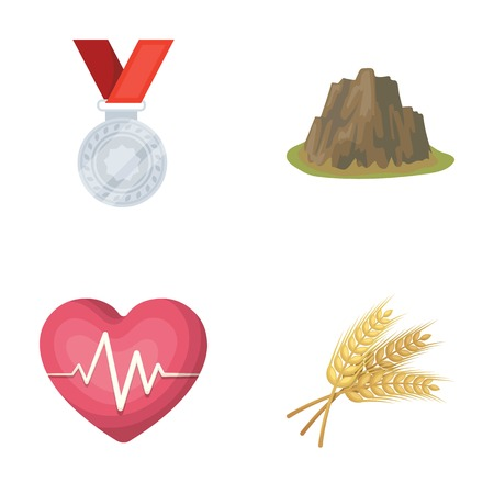 agriculture, sport and other  icon in cartoon style.health, travel icons in set collection. Ilustração