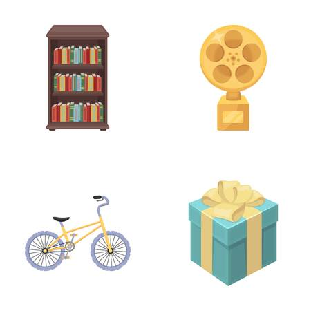 training,sport and other  icon in cartoon style.Film prize, gift icons in set collection.