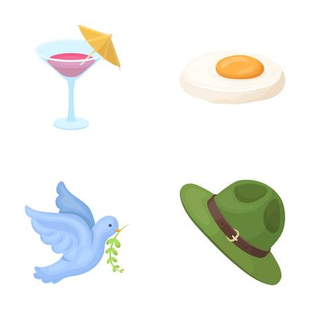 alcohol, bird and other  icon in cartoon style. product, clothing icons in set collection. Illustration