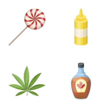 sweet, drug and other  icon in cartoon style.cooking, Canada icons in set collection. Illustration