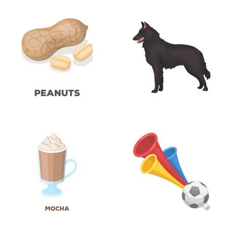 food, drink and other  icon in cartoon style.animal, fans icons in set collection.