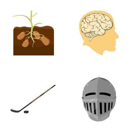 スポーツ、自然、歴史、他の漫画のスタイルのアイコン。年齢、戦い、医学、セットのコレクションのアイコン。