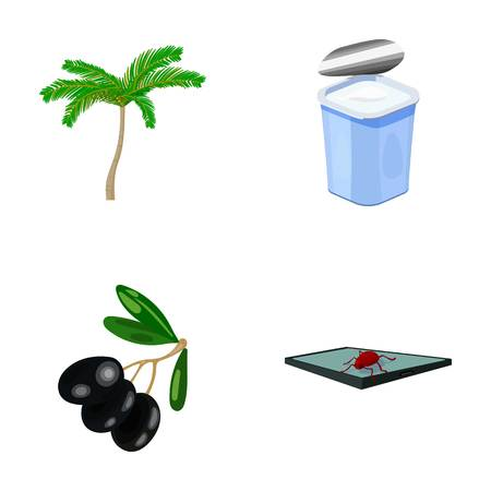 tree logo: Palma, garbage can and other  icon in cartoon style. olives, virus on the tablet icons in set collection.