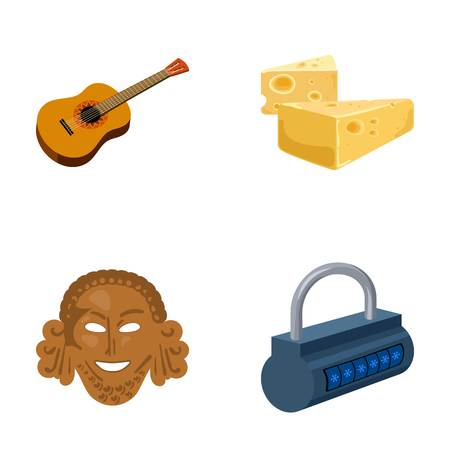 lock symbol: Guitar, cheese and other  icon in cartoon style.Theatrical mask, padlock icons in set collection.