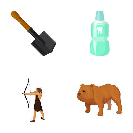 Sapper shovel, tooth elixir and other  icon in cartoon style. ancient hunter, English bulldog icons in set collection.