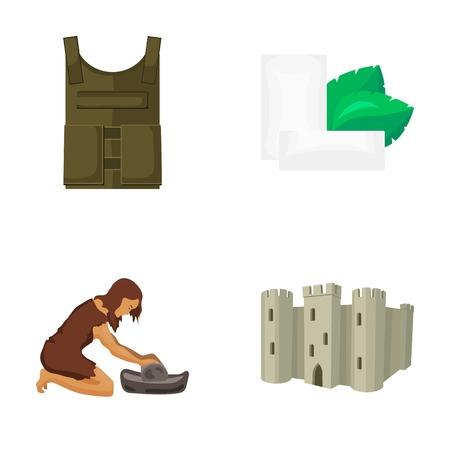 Bulletproof vest, chewing gum and other  icon in cartoon style. female neanderthal man, fortress icons in set collection.