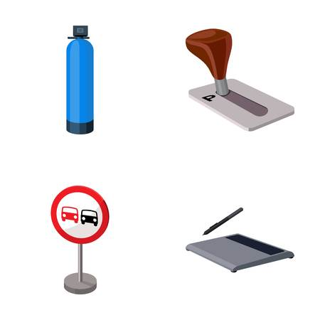 Gas cylinder, parking brake and other  icon in cartoon style.prohibit sign, graphic tablet icons in set collection.