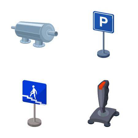 Filter, traffic sign and other  icon in cartoon style. game joystick icons in set collection.