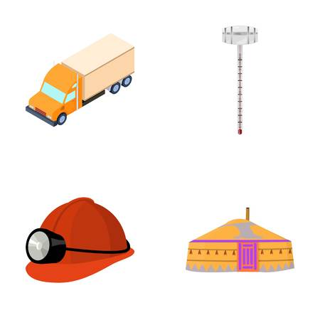 mongols: Truck, alcohol meter and other  icon in cartoon style. helmet of a miner, dwelling of the Mongols icons in set collection.
