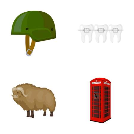 antique booth: Soldiers helmet, teeth and other  icon in cartoon style. bull, telephone booth icons in set collection.