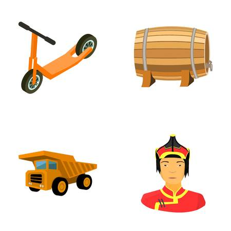 Childrens scooter, wooden barrel and other  icon in cartoon style. dump truck, Mongolian warrior icons in set collection. Illustration
