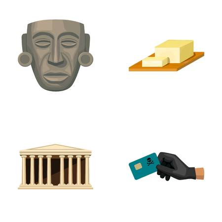 Mask, cheese and other  icon in cartoon style. building, credit card icons in set collection. 向量圖像