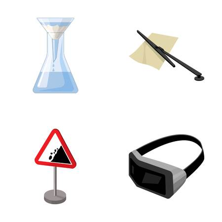 reagent: Flask, parking fee and other  icon in cartoon style.traffic sign, 3D glasses icons in set collection.