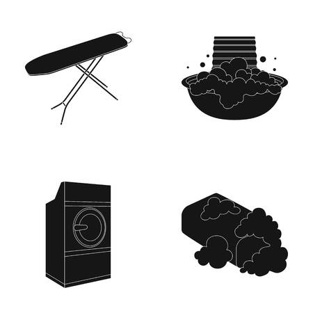 Ironing board and other accessories. Dry cleaning set collection icons in black style vector symbol stock illustration web. Illustration