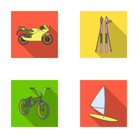 racing sign: Motorcycle, mountain skiing, biking, surfing with a sail.Extreme sport set collection icons in flat style vector symbol stock illustration web. Illustration