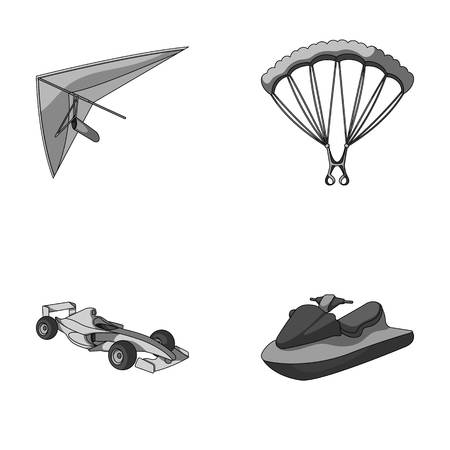 Hang glider, parachute, racing car, water scooter.Extreme sport set collection icons in monochrome style vector symbol stock illustration web.