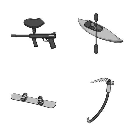 Paintball marker, kayak with a paddle, snowboard and climbing ice ax.Extreme sport set collection icons in monochrome style vector symbol stock illustration web. Illustration