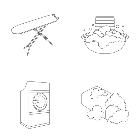 grater: Ironing board and other accessories. Dry cleaning set collection icons in outline style vector symbol stock illustration web.