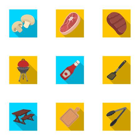 grill tongs sausage: Meat, steak, firewood, grill, table and other accessories for barbecue.BBQ set collection icons in flat style vector symbol stock illustration web. Illustration