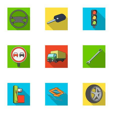 motor car candles: Wheel, wrench, jack and other equipment. Car set collection icons in flat style vector symbol stock illustration web.