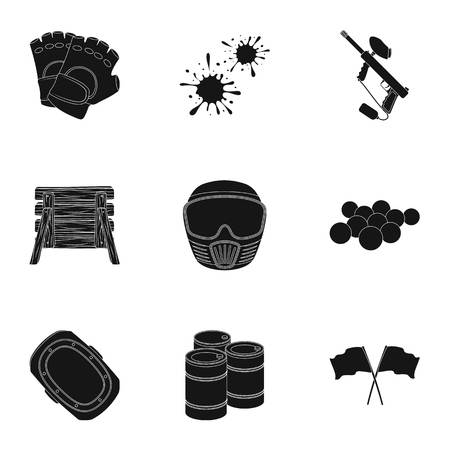 tactics: Marker for paintball, equipment, balls and other accessories for the game. Paintball single icon in black style vector symbol stock illustration web.