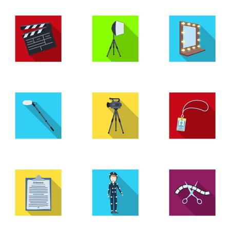 clothes rail: A movie camera, a floodlight, a chromakey and other equipment for the cinema.Making movie set collection icons in flat style vector symbol stock illustration web.