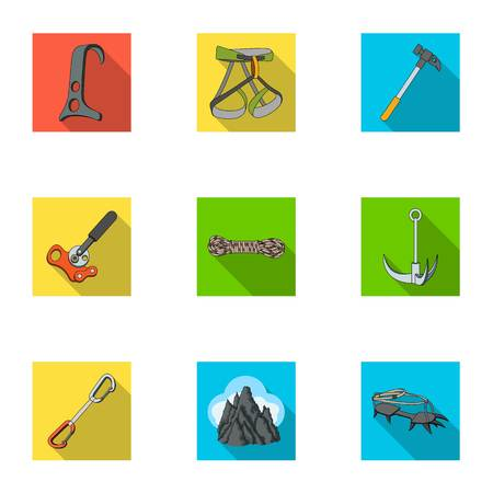 Ice ax, conquered top, mountains in the clouds and other equipment for mountaineering.Mountaineering set collection icons in flat style vector symbol stock illustration web.