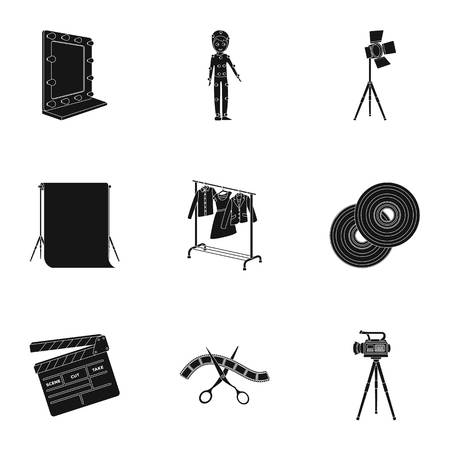 clothes rail: A movie camera, a floodlight, a chromakey and other equipment for the cinema.Making movie set collection icons in black style vector symbol stock illustration web.