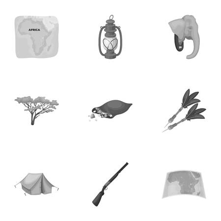 tree logo: Rifle, mask, map of the territory, diamonds and other equipment. African safari set collection icons in monochrome style vector symbol stock illustration web.