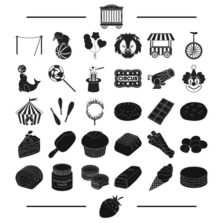 strawberry, goodies, entertainment and other web icon in black style.bar, horn, pie, icons in set collection.