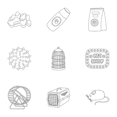 carding: Collar, pet food and other products. Pet shop set collection icons in outline style vector symbol stock illustration web.
