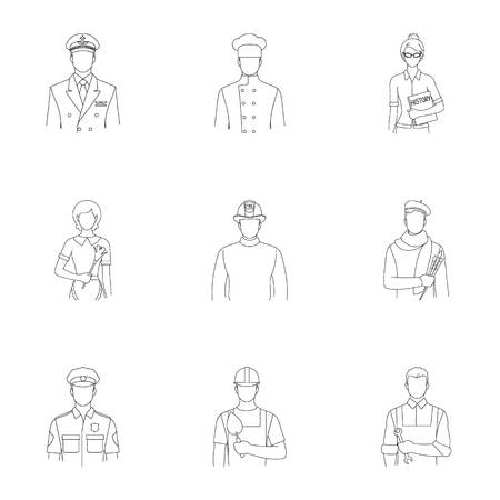 Doctor, worker, military, artist and other types of profession.Profession set collection icons in outline style vector symbol stock illustration web.