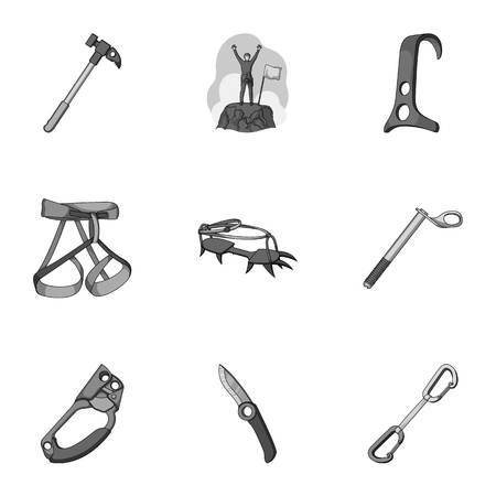 mountaineering: Ice ax, conquered top, mountains in the clouds and other equipment for mountaineering. Mountaineering set collection icons in monochrome style vector symbol stock illustration web. Illustration