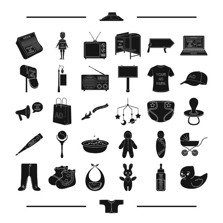 textiles, equipment, transportation and other web icon in black style. Bottle, apron, machinery, icons in set collection.
