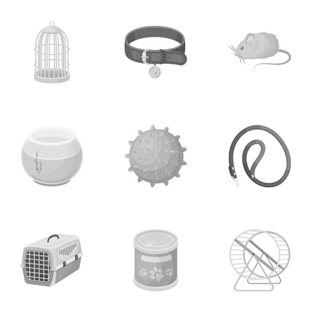 carding: Collar, pet food and other products. Pet shop set collection icons in monochrome style vector symbol stock illustration web.